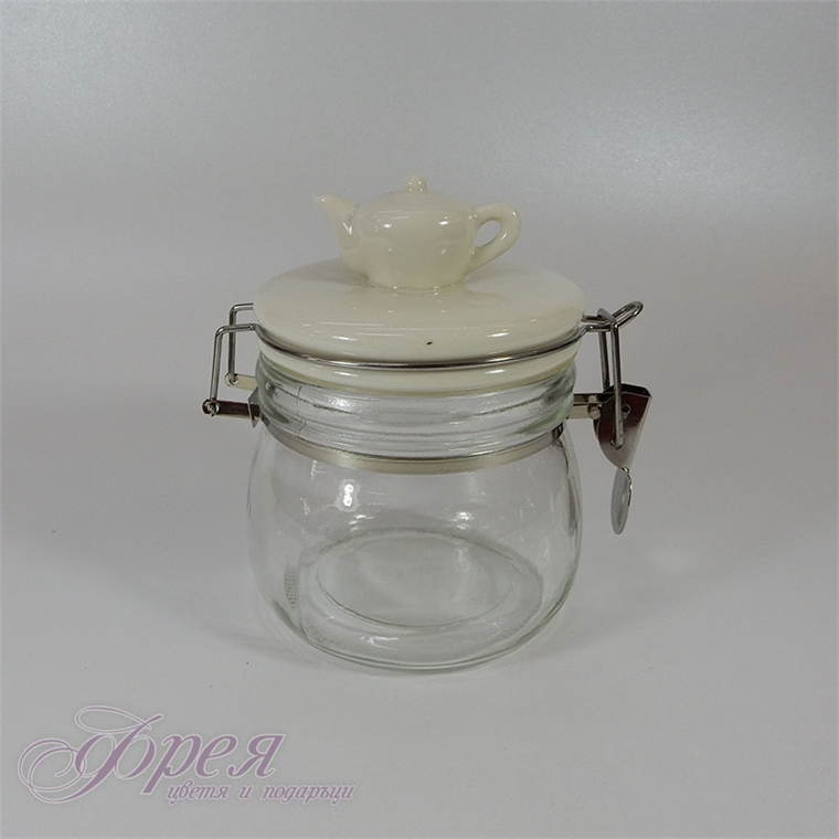 Стъклен буркан за съхранение с порцеланов капак с чайник