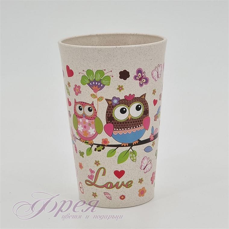 Бамбукова чаша със сови