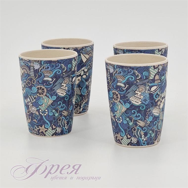 Бамбукови чаши с морски дизайн