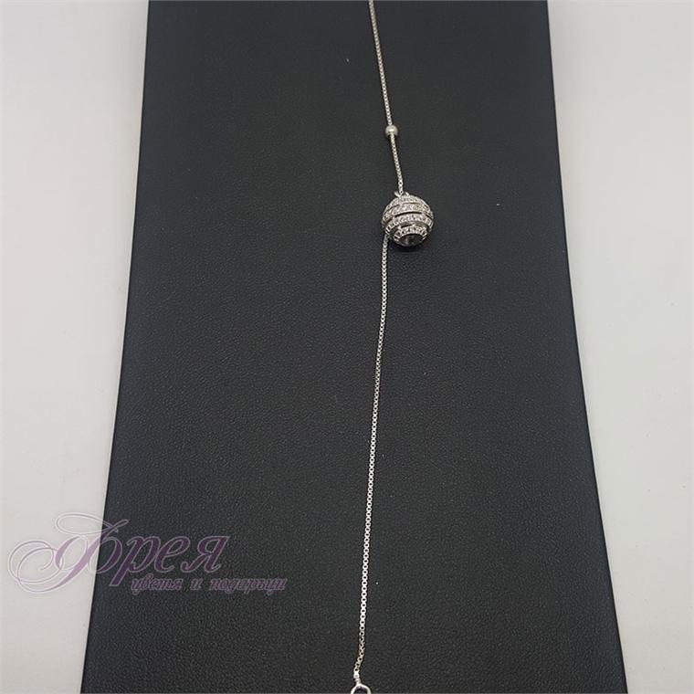 Сребърна гривна - топче с циркони