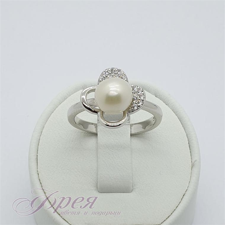 Сребърен пръстен с перла и циркони - цвете