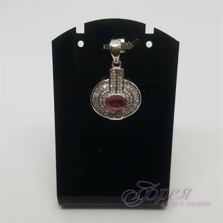 Сребърна висулка с рубин и циркони - овал 1.1х0.8см