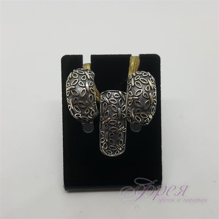 Сребърен комплект обеци и висулка с пеперудки - оксидиран