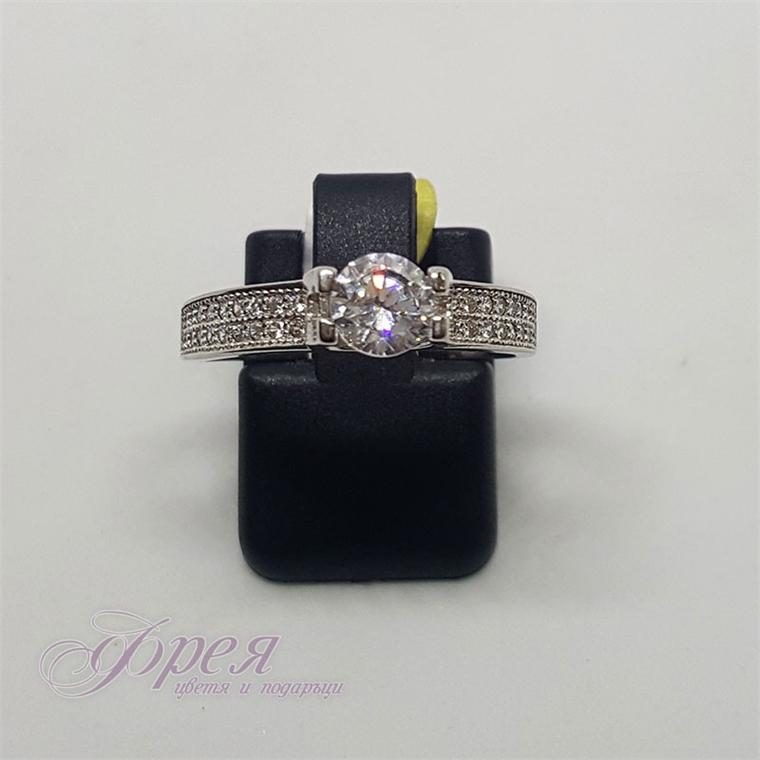 Сребърен пръстен - кръгъл камък Ø6.0мм, широка халка