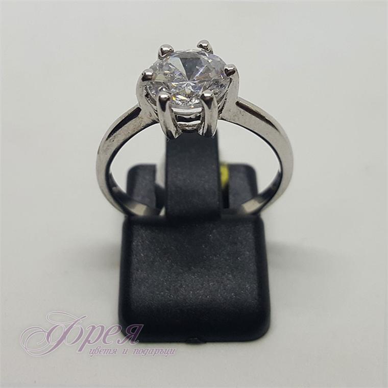 Сребърен пръстен с циркон - тип годежен I
