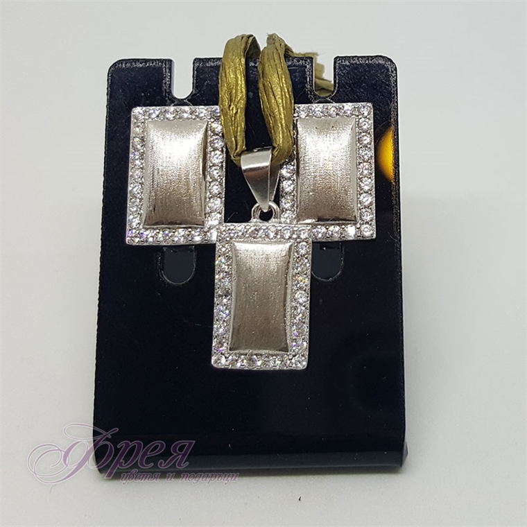 Сребърен комплект обеци и висулка с циркони - правоъгълник