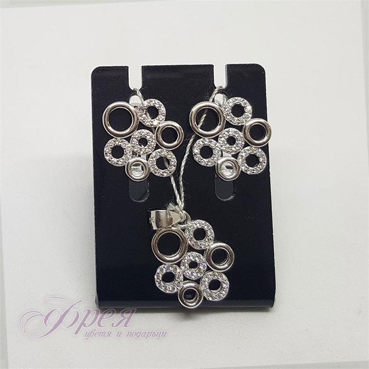 Сребърен комплект обеци и висулка с циркони - кръгчета
