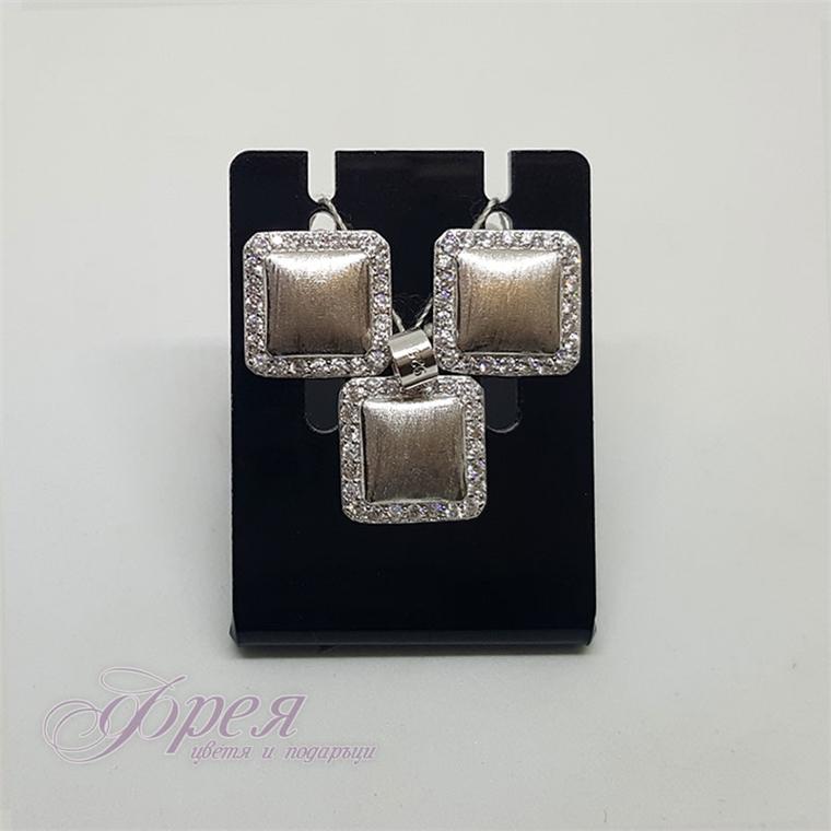 Сребърен комплект обеци с висулка с циркони - квадрат