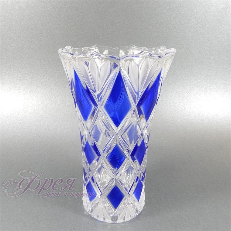 Стъклена ваза - сини ромбове