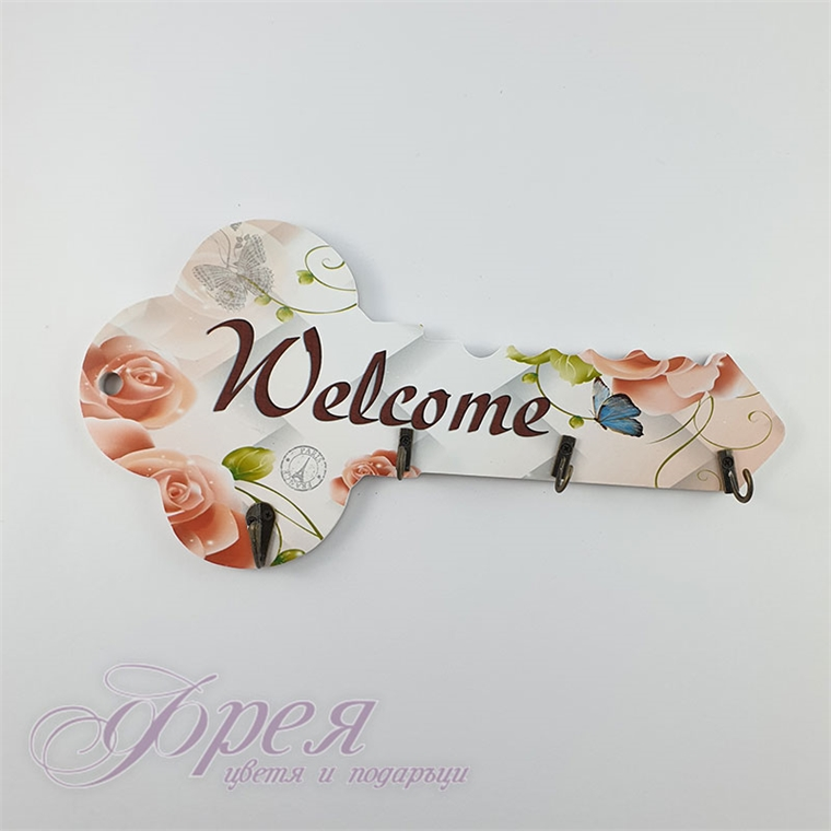 Поставка за ключове - Ключ с цветя 34 см