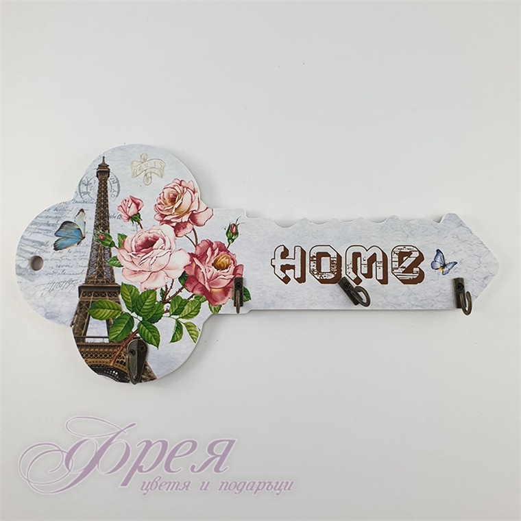 Поставка за ключове - Ключ Айфелова кула с рози 34 см