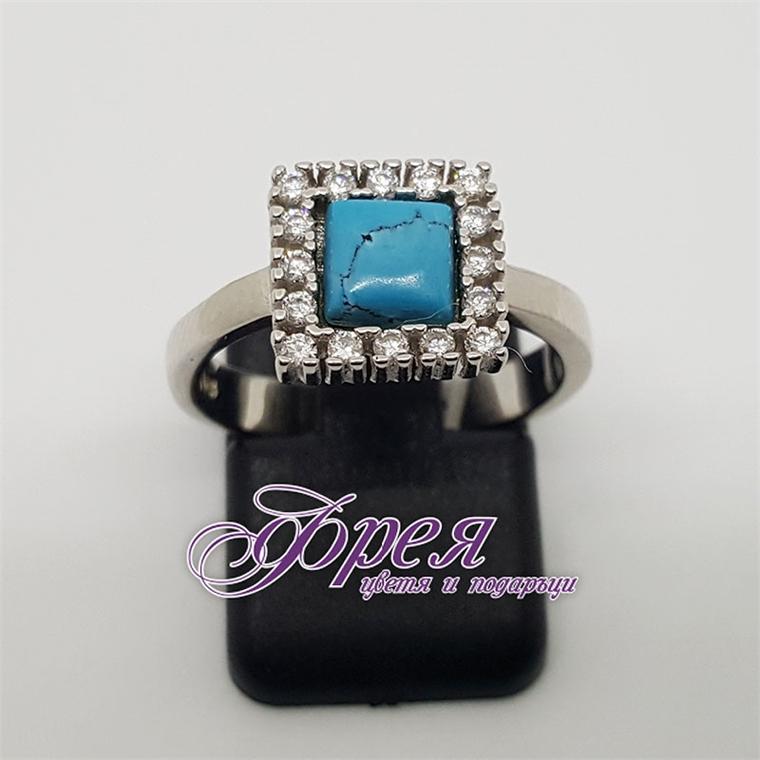 Сребърен пръстен със син тюркоаз и циркони - квадрат