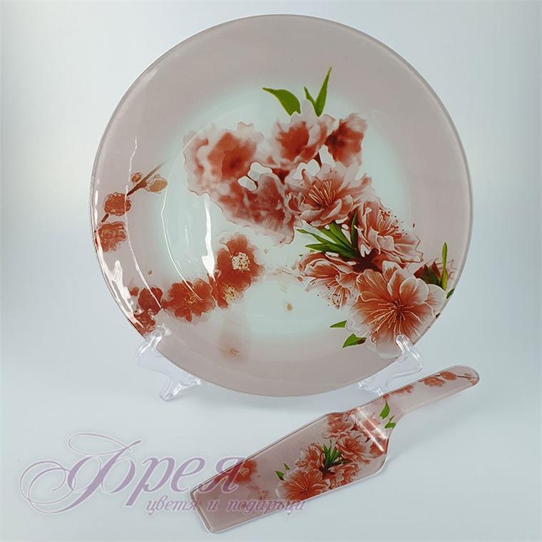 Стъклено плато с лопатка за торта - Розови цветя