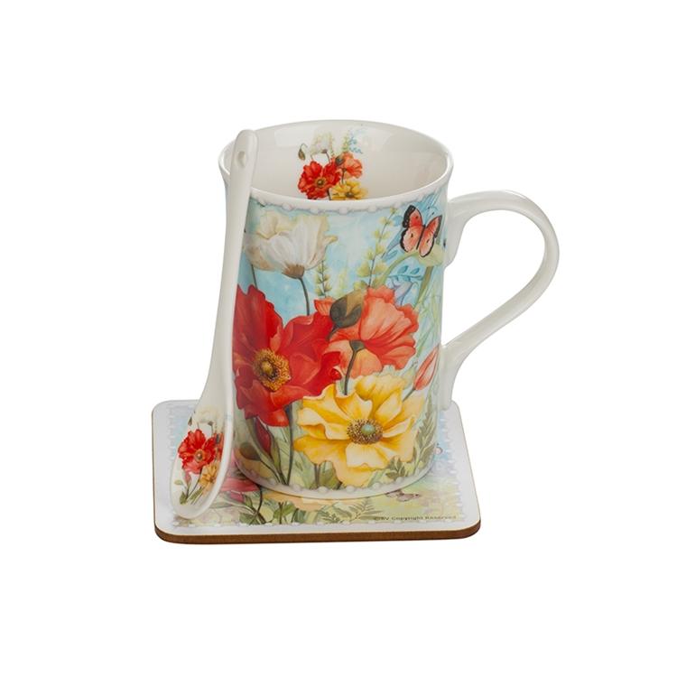 Чаша с лъжичка и подложка - Макове 04