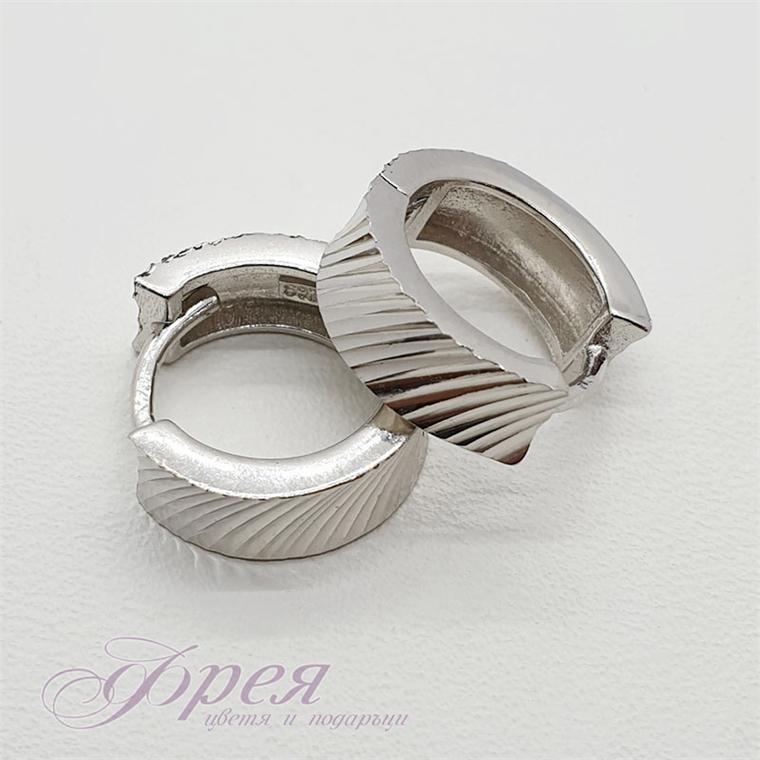 Сребърни обеци - широка халка с линии Ø14х5мм