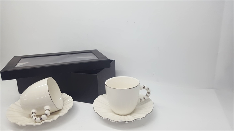 Комплект чаши за кафе Сребрист кант - Вълни