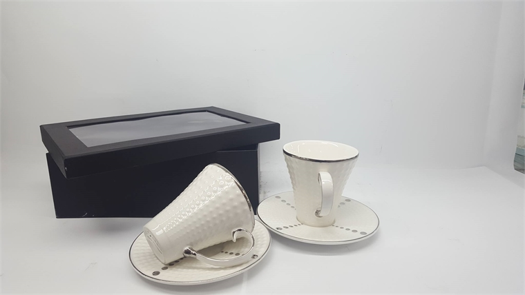 Комплект чаши за кафе Сребрист кант - Релеф