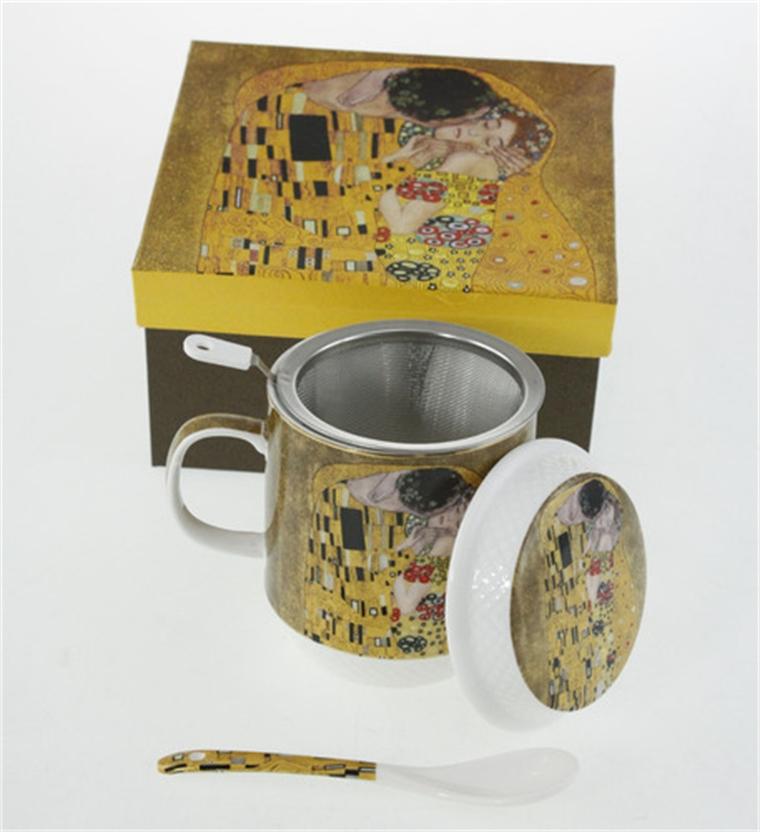 Комплект чаша за чай - Целувката 13см