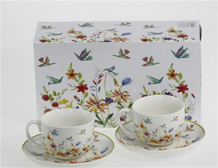 Комплект две чаши - Птички и цветя