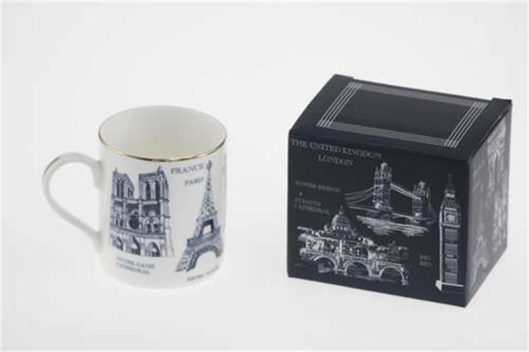 Чаша за топли напитки със златист кант - Париж