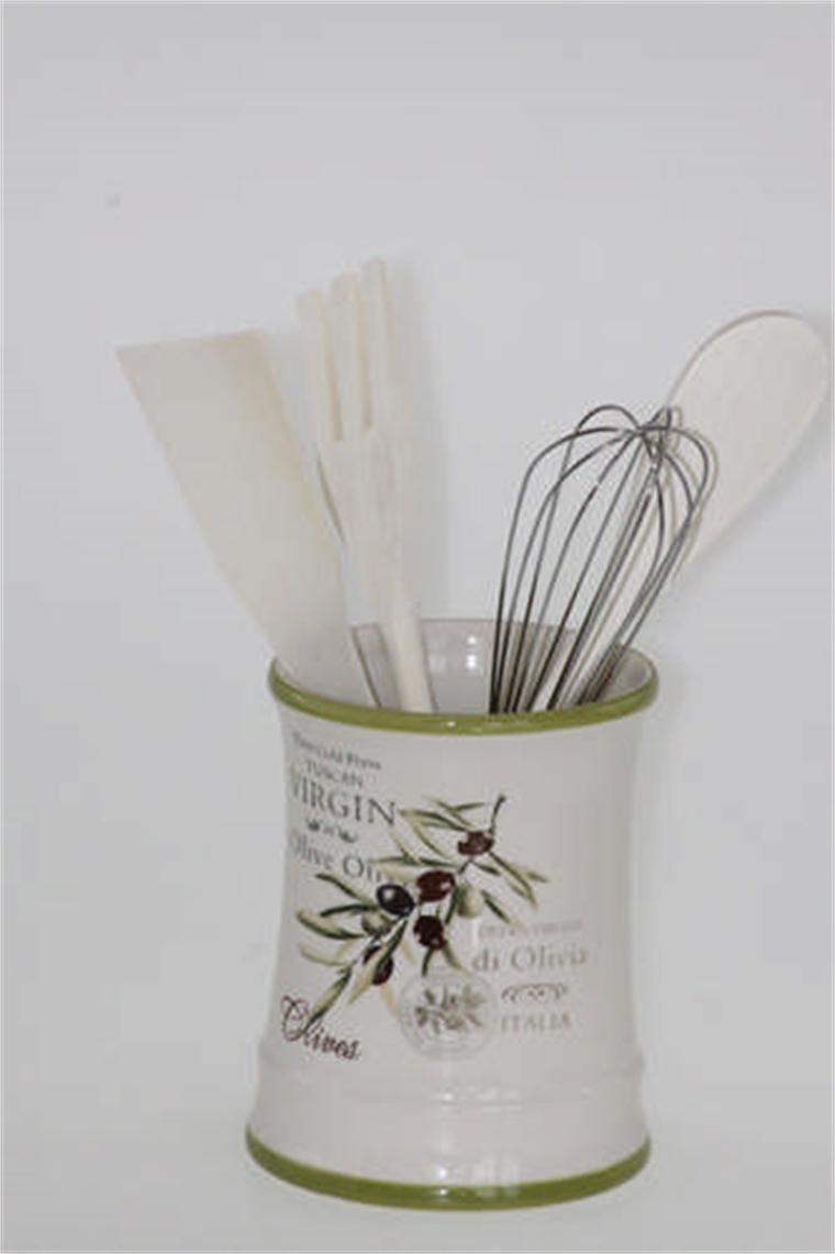 Комплект кухненски бъркалки с поставка - Маслини
