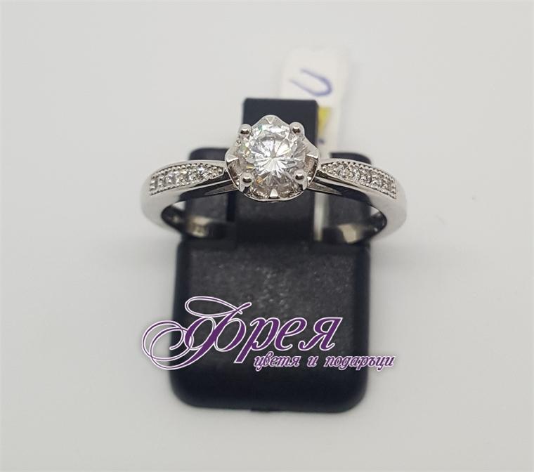 Сребърен пръстен - тип годежен с кръгъл камък Ø5.0мм