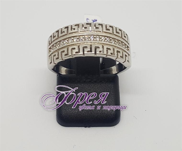 Сребърен пръстен-две ивици с ''Версаче''елементи и циркони