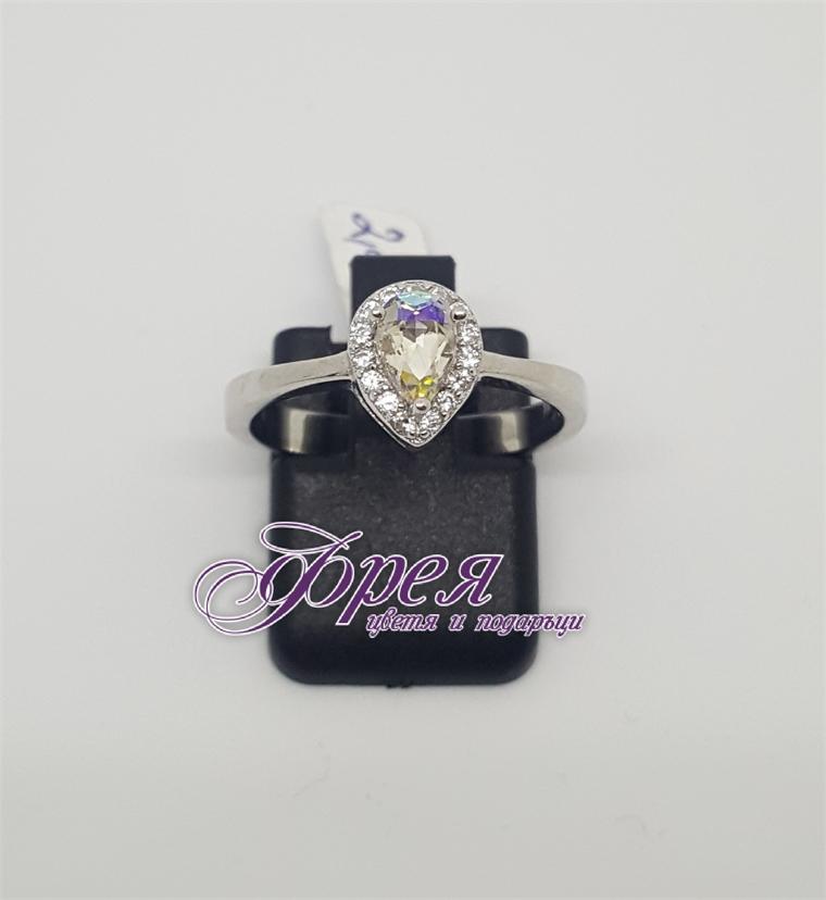 Сребърен пръстен с циркони - капка