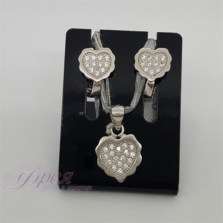Сребърен комплект обеци и висулка с циркони - сърце 2.0х1.2см