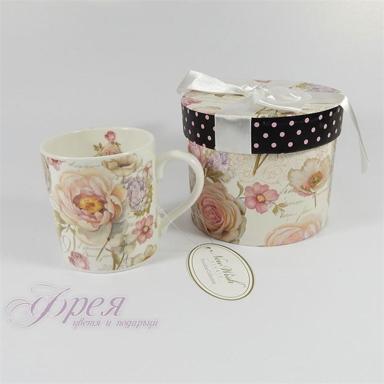 Порцеланова чаша за кафе - Роза 01