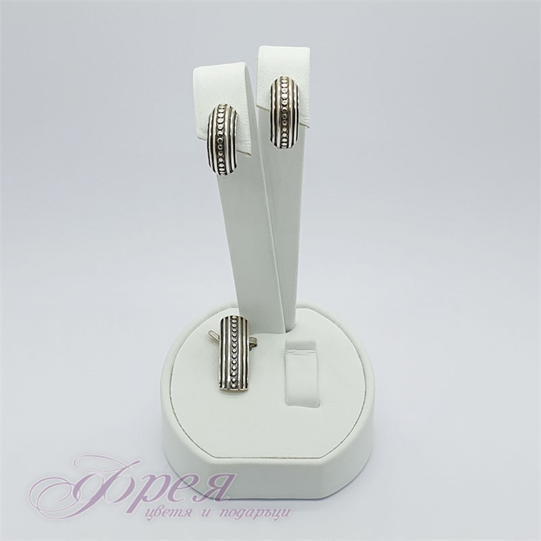 Сребърен комплект висулка и обеци - оксидирани, точки