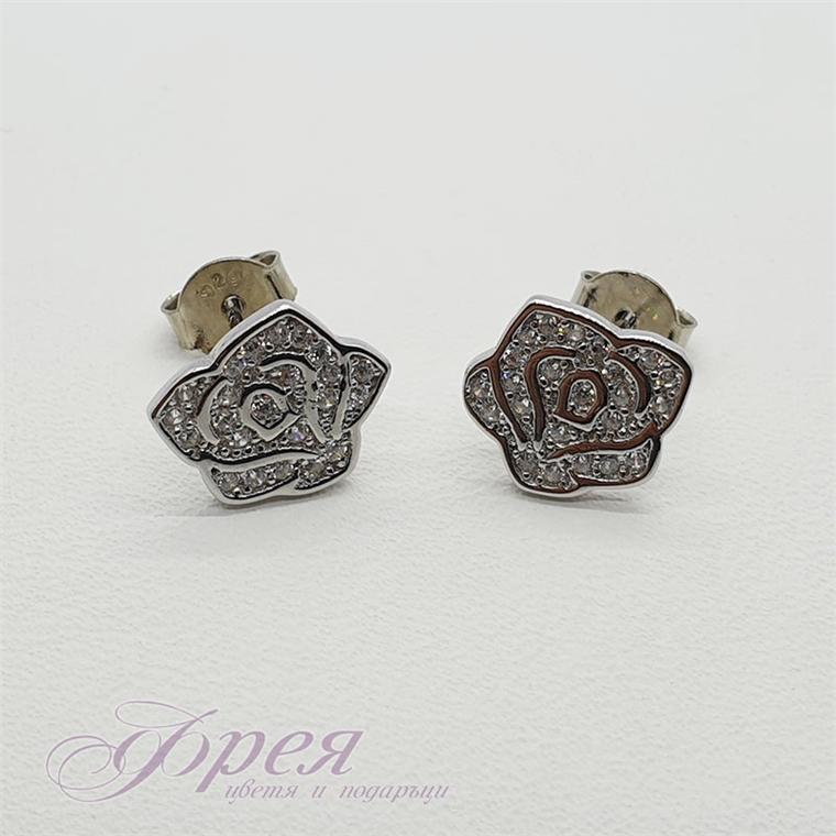 Сребърни обеци с циркони - роза 12х10х10мм