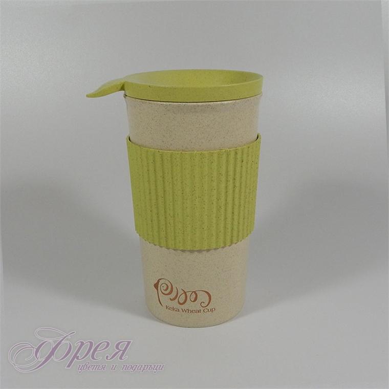 Еко чаша за топли напитки от пшенични стебла