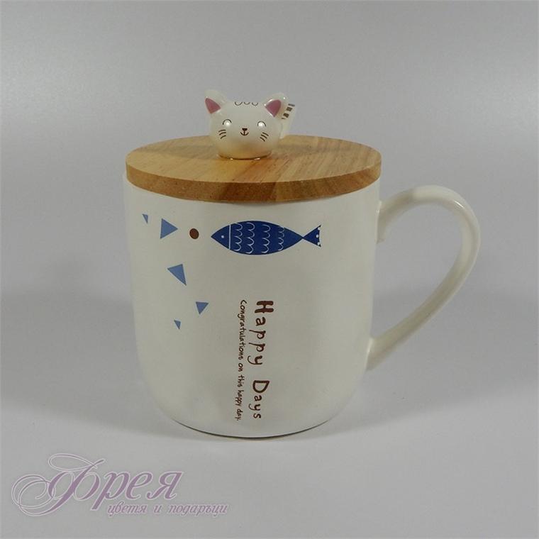 Чаша 'Happy days' с дървено капаче и керамична лъжичка