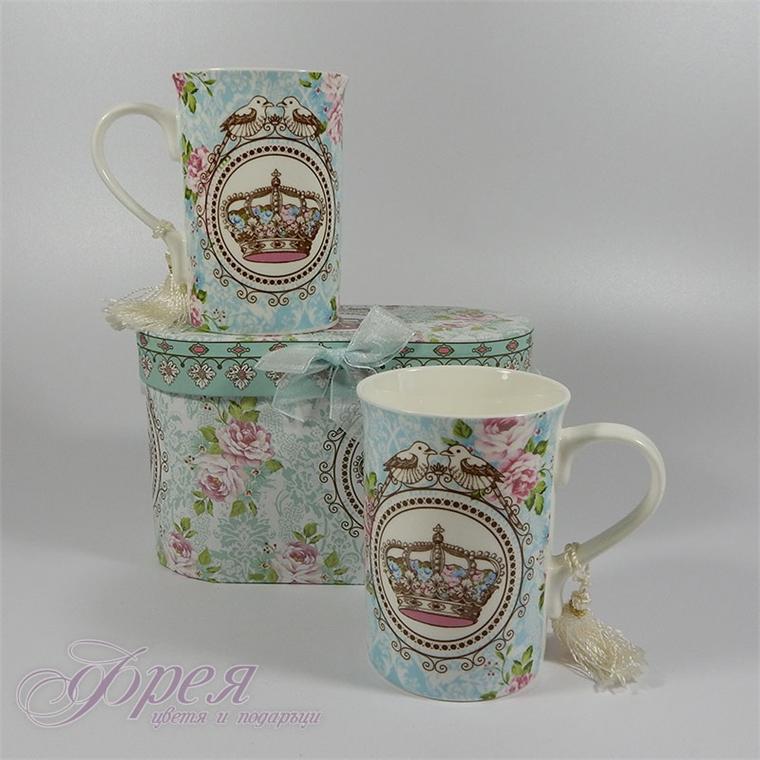 Комплект две порцеланови чаши за чай или кафе в луксозна кутия