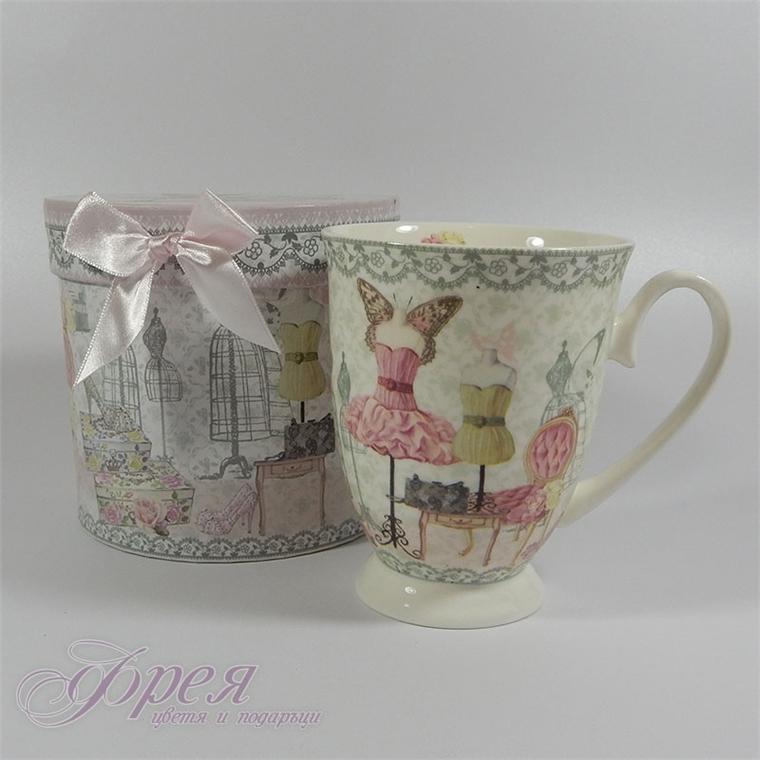 Порцеланова чаша за чай или кафе в луксозна кутия
