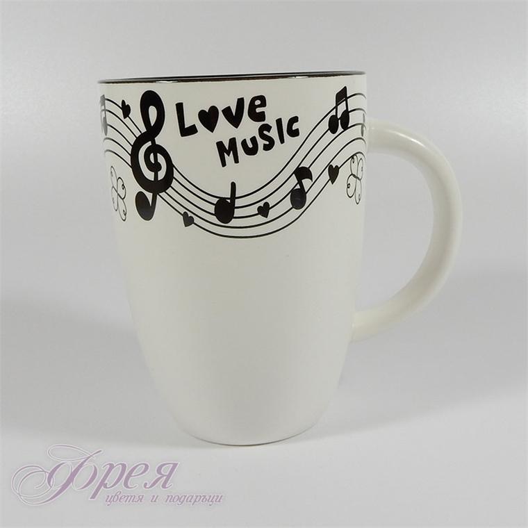 Порцеланова чаша с музикални мотиви
