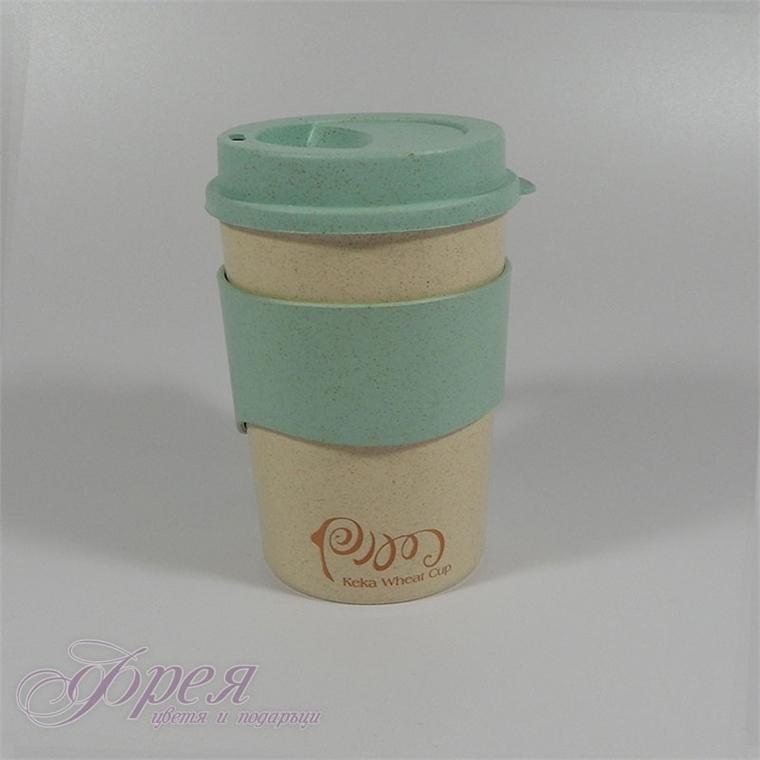 Еко чаша за топли напитки с дръжка, капаче и бъркалка
