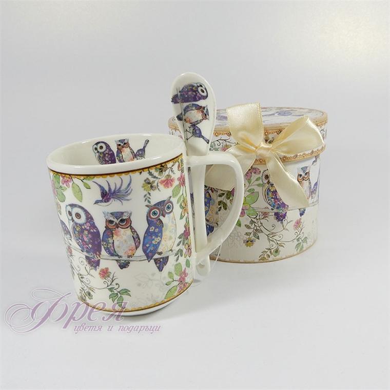 Порцеланова чаша с лъжичка - Бухалчета