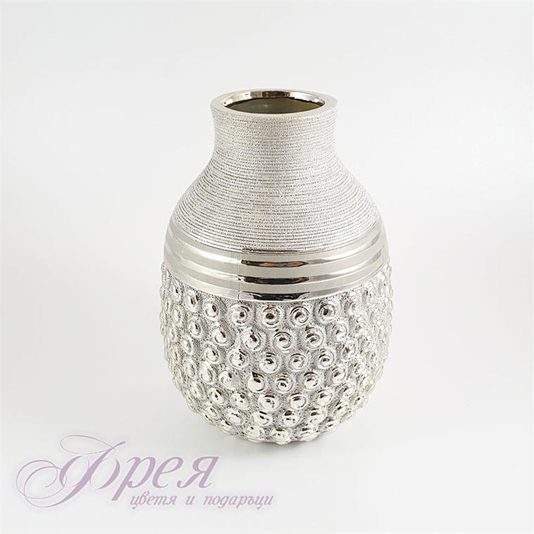 Керамична ваза - сребриста