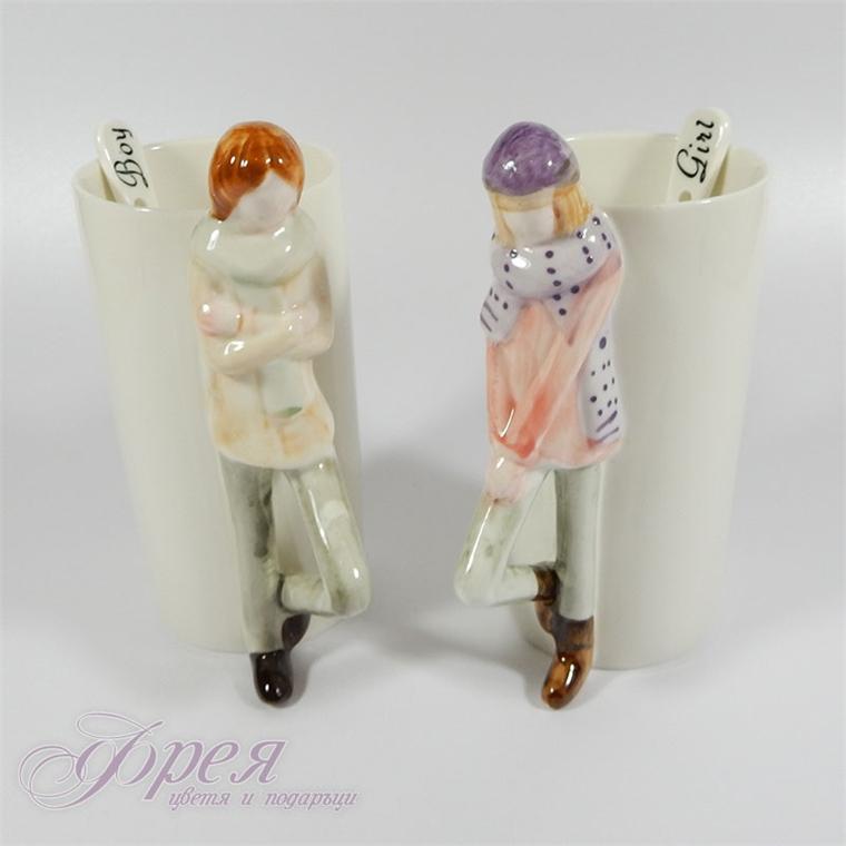 Комплект порцеланови чаши 'Boy and Girl'