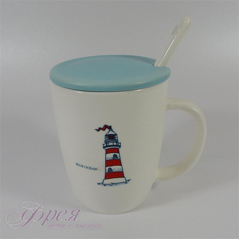 Порцеланова чаша с капаче и лъжичка - морски фар