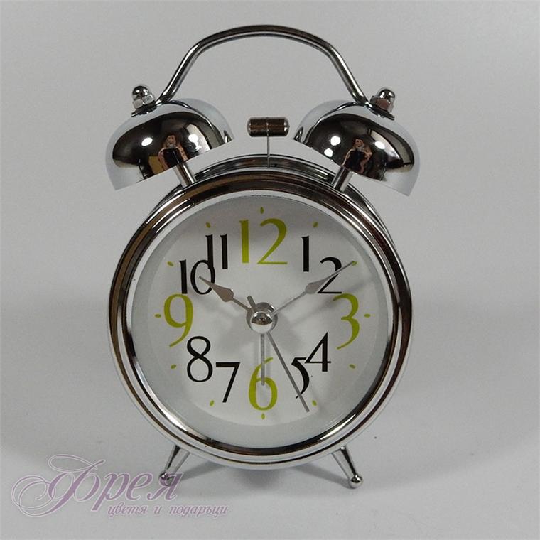 Метален часовник с будилник и лампичка - бял, хром