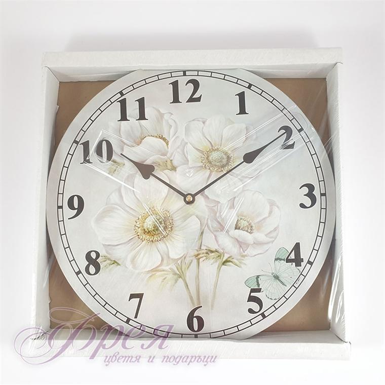 Стенен часовник с бели макове