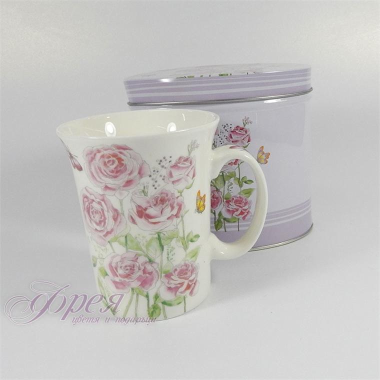 Порцеланова чаша в метална кутия - Пролетни цветя