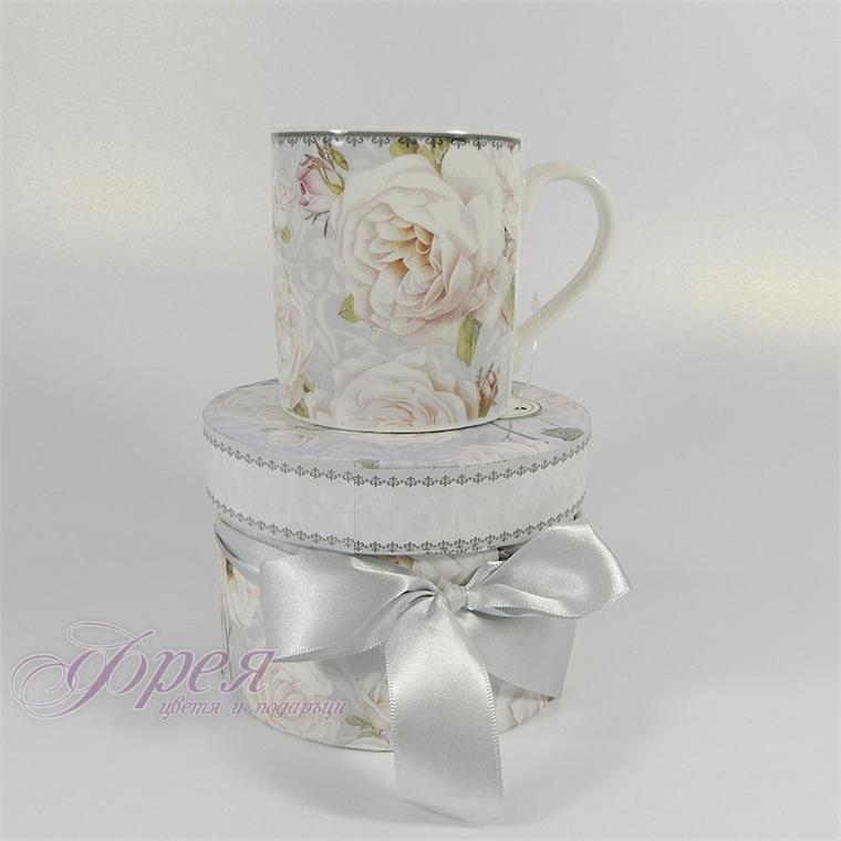 Порцеланова чаша класик - Бяла роза