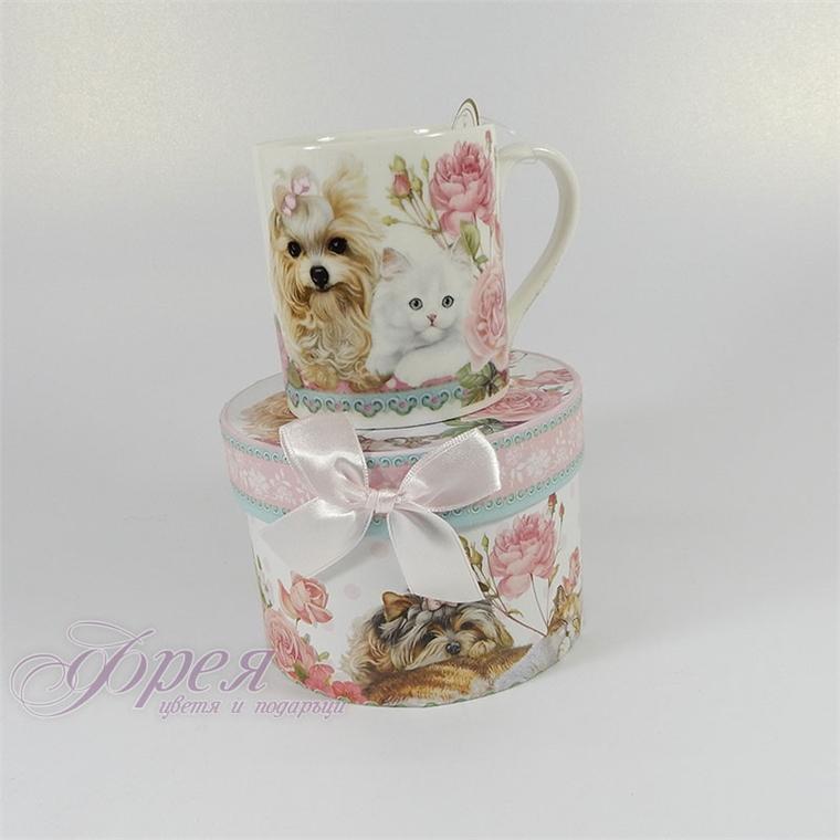 Порцеланова чаша за кафе класик - Коте и куче