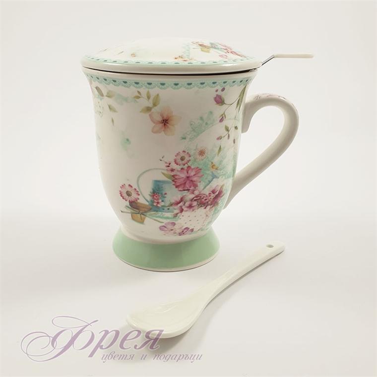 Чаша за чай - Зелена дантела