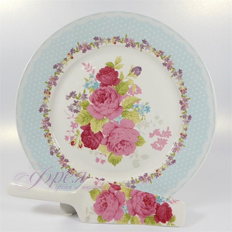 Комплект за торта от 2 части - Рози със син кант