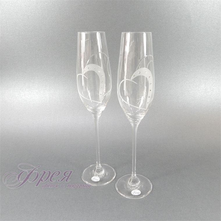 Сватбени кристални чаши със  SWAROVSKI кристали